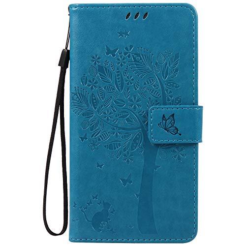 ISAKEN Funda para Samsung Galaxy Note 3, Cartera Fundas de PU Cuero Leather Wallet Case Cover Carcasa Funda con Portátil Correa función de Soporte para Samsung Galaxy Note 3 (Gato Árbol Azul)