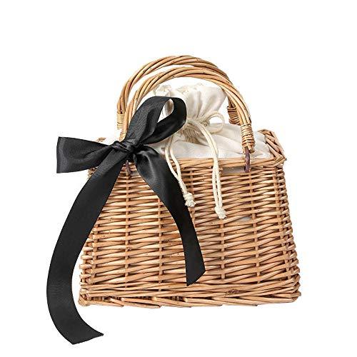 Monederos y bolsos pequeños para mujer Bolso de mano con canasta de paja de verano Bolso de mano para la playa para mujer Tote-21x15x12cm (LxHxW)