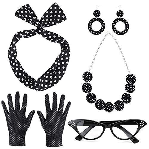 Beelittle 50's Damen Kostüm Accessoires Set Polka Dot Bandana Krawatte Stirnband Ohrringe Halskette Handschuhe Retro Cat Eye Eglasses (Schwarz)