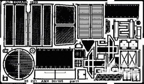 Eduard Accessories- Accessoires de modélisme AMX 30/105-Kit de Montage extérieur, 35221