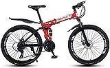 Bicicleta Plegable de Bicicleta de montaña de 26 Pulgadas con Freno de Disco 27 Bicicleta de Velocidad en Bicicleta de Velocidad MTB Bicicletas para Hombres o Mujeres Marco Plegable-Rojo_3 Evol