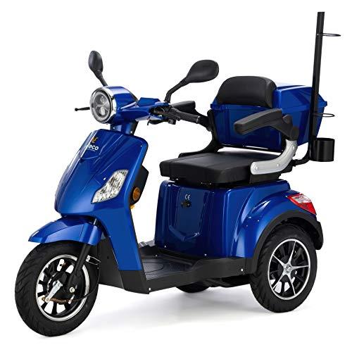 VELECO Scooter Eléctrico de 3 Ruedas Para Personas Mayores Minusvalido DRACO 25km/h (Azul)
