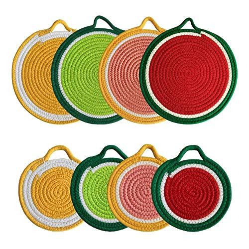 Mogzank Juego de Agarraderas de Cocina, Posavasos Redondos de Tejido de Hilo de AlgodóN con Forma de Fruta, Mantel Individual, Tapetes Calientes para Cocinar, Hornear, 8 Piezas