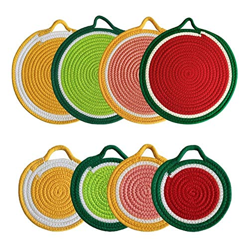Mogzank Kitchen Potholders Trivets Set,Round Fruit Shape Cotton Thread Weave Coasters,Placemat,Hot Mats for Cooking,Baking,8 Pcs