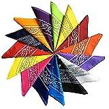 Trebien 12PCS Bandana Foulard Original Paisley Multicolore 100% Coton Bandana...