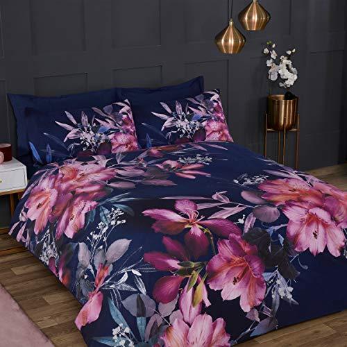 Sleepdown Großes Bettwäsche-Set mit Blumenmuster, Marineblau, rosa, weich, pflegeleicht, Poly-Baumwolle, Bettbezug mit Kissenbezug, Einzelbett (135 x 200 cm), Polycotton