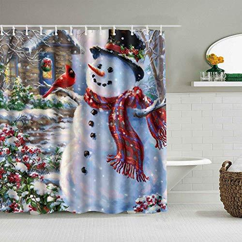 Duschvorhang Happy Snowman & Cardinals Winter Holiday Frohe Weihnachten wasserdichte Badvorhänge Haken enthalten - Badezimmer dekorative Ideen Polyester Stoff Zubehör