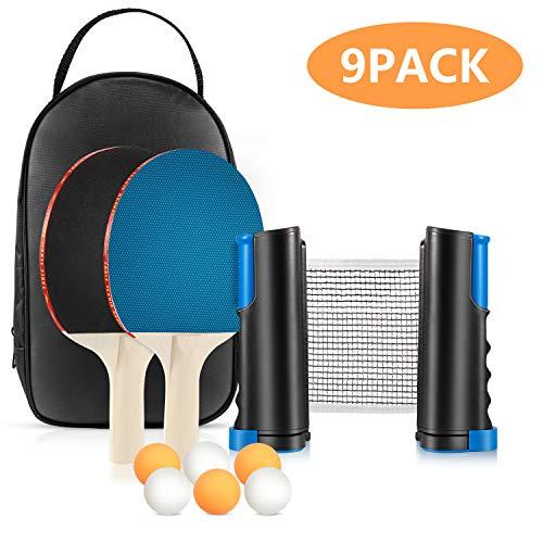 Tencoz Tischtennisschlaeger Set mit Netz, Spaß Ping Pong Tischtennis Set mit Einziehbares Netz, 2 Schlägern und 3 Bällen für Familie, Anfänger und Profis, Passt auf Jeden Tisch