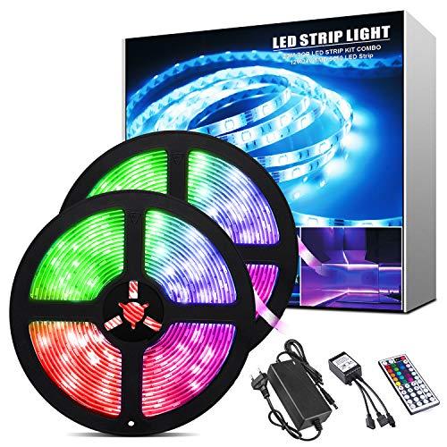 ShinePick 10M Tiras LED RGB 5050, Impermeable IP65 Tira LED 12V con 300 LEDS,Luces Kit con Control Remoto de 44 Botones,20 Colores, 8 Modos de Brillo y 6 opciones DIY para Habitación,Cocina,TV