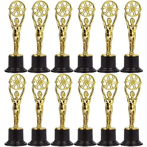 Juvale Kleine Siegertrophäen (Set, 12 Stück) – Als Preis für Filmfans, Filmschaffende, Videographer, als Dekoration bei Filmabenden, Motto-Partys- Kunststoff–Goldfarben - 15,5 cm Hoch