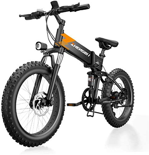 RDJM Ebikes, Adult 20 Inch Electric Mountain Bike, 48V Lithium Battery, High-Strength Aluminum Alloy Offroad Electric Snowfield Bicycle, 7 Speed