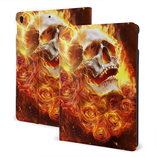 Fire Skull New Ipad Case Fit 7th Generation/ Air3, Full-Body Trifold with Built-in Screen Protector Protective Smart Cover with Auto Sleep/Wake