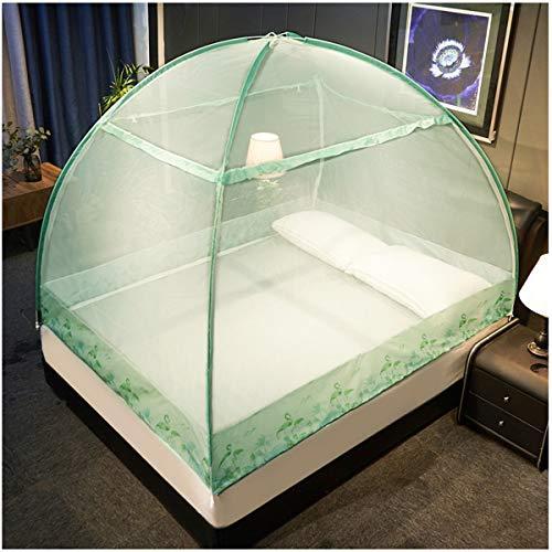 Yangm Pop-up klamboe, vouwbare dubbele deur, anti-muggengaas, volledig gesloten eenvoudige installatie voor tweepersoonsbedden en eenpersoonsbedden