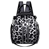 Fashion Women PU Leather <span class='highlight'>Leopard</span> <span class='highlight'>Print</span> Zipper School Bag JIANGfu Ladies Casual Large Capacity Satchel Travel Shoulder Bag <span class='highlight'>Backpack</span> Hand Bag (Black)
