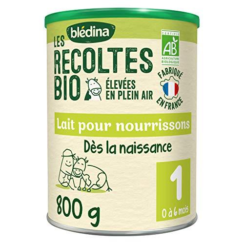 Blédina Les Récoltes Bio 1er âge ( 0-6 mois ) - Lait pour nourrissons en poudre, dès la naissance et jusqu'aux 6 mois de bébé - Boîte de 800g