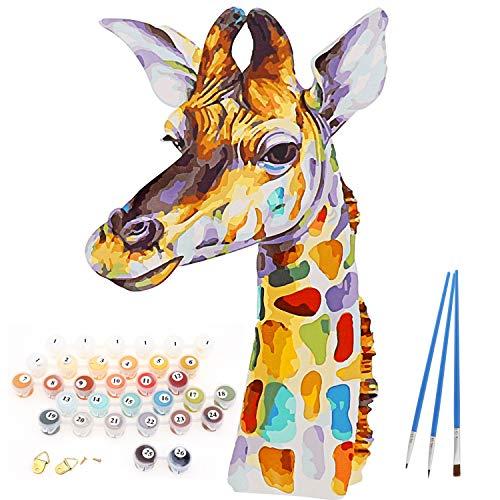 Fai da Te Pre-Stampato su Tela Pittura a Olio Regalo per Adulti Bambini dipingere da Numero Kit per la Decorazione Domestica, Dipingi per Numero Kit, 16 * 20Pollici Senza Telaio, Giraffa Colorato