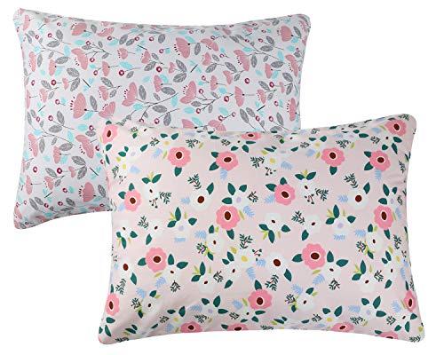 Knlpruhk - Juego de 2 Fundas de Almohada con Cremallera, diseño Floral, 100% algodón, para niñas de 14 x 19 y 13 x 18 Pulgadas