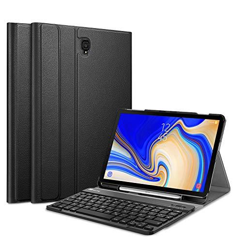 Fintie Tastatur Hülle für Samsung Galaxy Tab S4 T830 / T835 (10.5 Zoll) 2018 Tablet-PC - Superdünn Schutzhülle mit magnetisch Abnehmbarer drahtloser Deutscher Bluetooth Tastatur, Schwarz