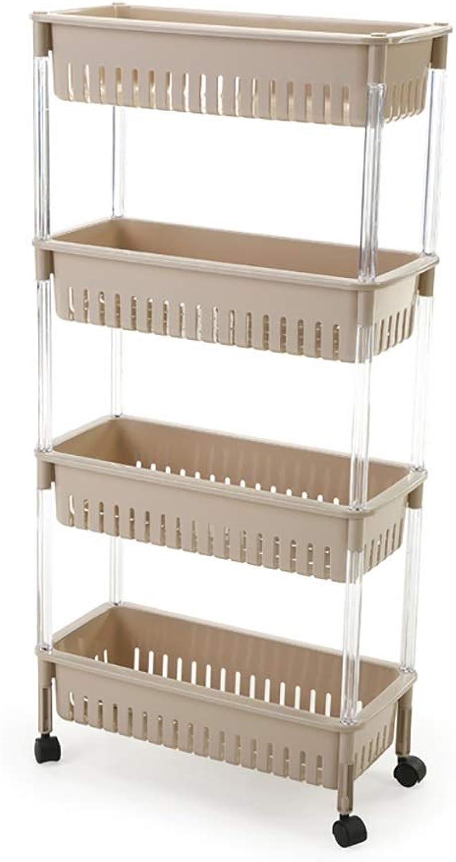 4-Layer Plastic Storage Rack, It Can Move Narrow Gap Gap Storage Finishing Shelf for Kitchen Bathroom Storage (color   C)