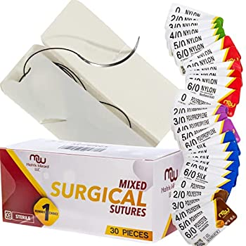 Suture Thread with Needle 30Pk  Mixed 0 2-0 3-0 4-0 5-0 6-0  - Practice Suturing  Camping Survival Demo Military Tactical Drill Hospital Clinic Rotation First Aid Travel Safety Veterinary Use