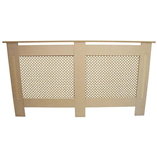 Radiator Cover Natural Unfinished MDF Wood Trellised Grill Modern Heating Home Furniture Cabinet Shelf 1515mm