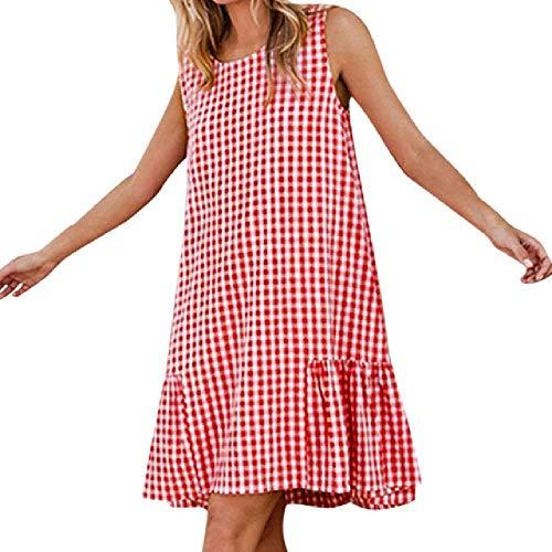 N\P Vestido de las mujeres de verano casual sin mangas a cuadros hasta la rodilla vestido de