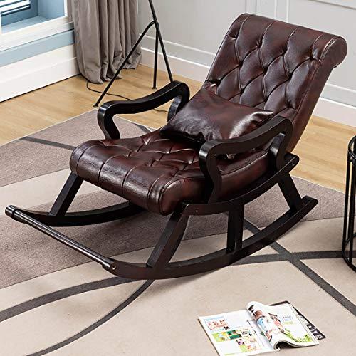 JYD Balcón Mecedora sillón reclinable de Cuero sillón de salón de Madera Maciza Adulto Adulto Perezoso Viejo Tumblr Mecedora