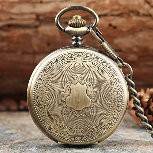 YUTRD ZCJUX Creativo Bronce/Plata/Oro Delicado patrón Tallado Escudo Reloj de Bolsillo de Cuarzo Reloj de Bolsillo de ratán Floral analógico (Color : Multi-Colored)