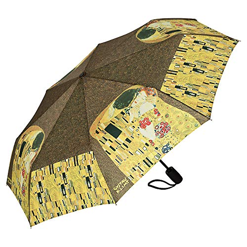 VON LILIENFELD Regenschirm Taschenschirm Stabil Leicht Auf-Automatik Damen Kunst Motiv Gustav Klimt: Der Kuss