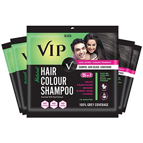 VIP HAIR COLOUR SHAMPOO, Black, 20ml, (Pack of 5)