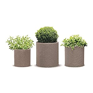 Keter Resin Wicker Cylinder Flower Pot Set of 3 Small, Medium, and Large Planters with Drainage Plugs for Outdoor or Indoor Plants, Beige