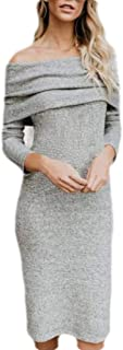 Womens Sexy Off Shoulder Long Sleeve Bodycon Midi Knit Evening Dress