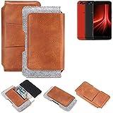 K-S-Trade® Schutz Hülle Für UMIDIGI Z1 Pro Gürteltasche Gürtel Tasche Schutzhülle Handy Smartphone Tasche Handyhülle PU + Filz, Braun (1x)