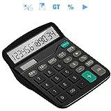 Tech Traders TTBCAL1 - Calcolatrice da tavolo, 12 cifre, colore: Nero Singolo Grande Nero...