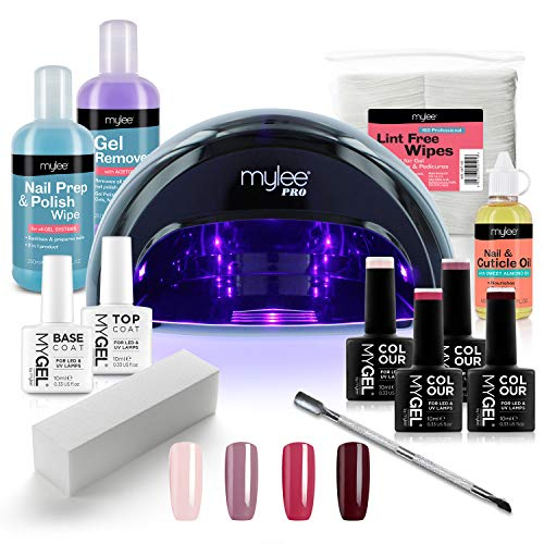 Mylee Complete Professional Gel Nail Polish LED Lamp Kit, 4x MYGEL Colours, Top & Base Coat, Mylee...