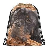 Jhonangel Bolso de Gimnasio para Perros Rottweiler para Mujeres, Mochila con cordón y Bolsillos Bolso de Nylon Resistente al Agua Mochila Grande 14.2 x 16.9 Pulgadas / 36 x 43cm