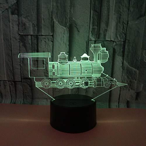 3D Illusion Lampe Form Der Lokomotive Led Nachtlicht, Schreibtisch Am Bett Tischlampe 16 Farben Berührungsschalter Usb-Kabel Nachtlampe Für Home Decor Kinder Weihnachten Geburtstag Geschenk