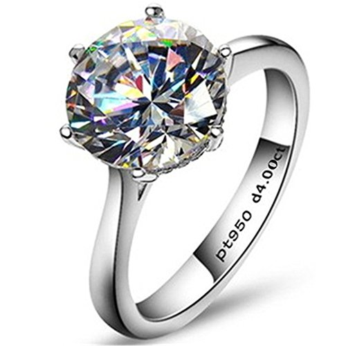 AINUOSHI Silver Rings, Engagement Rings, 1-4 Carat Zircon Rings, Bling Diamond Rings- Bring You Noble and Elegant Temperament