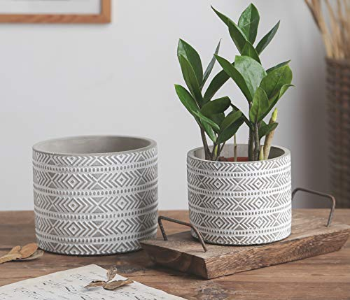 6 Inch Plant Pot and Modern Succulent Pots - Indoor Cement Planter, Medium Planter Pot - Tribal Gray Plant Pots Flower Pot Set of 2 (6.1 in and 4.7 in)