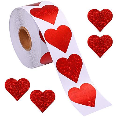 Ruisita 500 Pieces Glitter Heart Stickers Valentine's Love Decorative Stickers Valentine's Day Decorations Accessories
