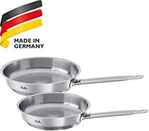 Fissler original profi-collection Frypan-Set 2 Piece, Stainless Steel, Uncoated, Induction, 10-Inch and 11-Inch, Silver