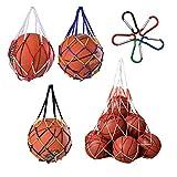 Bolso de Malla de Fútbol,Yueser 3pcs Malla de Balones de Nailon Carry Net Bag con Grande Bolsa de Malla de Nailon Balón y Mosquetón para Fútbol Baloncesto Voleibol Rugby Carry Net Bag