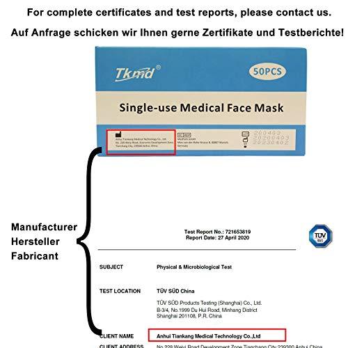 50X Masque Facial Médical Masque Chirurgical jetable Masque de Protection 3 Couches Type IIR BFE 98% TÜV Rapport de Test Masque Facial 50 Pièces/Boîte