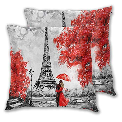 WINCAN Square Cushion Cover 45x45cm 2 pieces Set,Tropical Beach Sexy Girl Love Heart Shaped Bikini Beauty Woman Bridge Sunset Ocean Scenery,decorative Throw Pillow Case for Couch Sofa Chair Bed Home