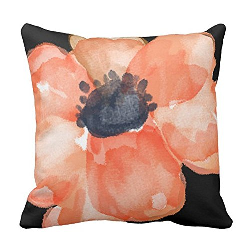 SPXUBZ Watercolor Flower Salmon Peach Floral Pillow Cover Decorative Home Decor Nice Gift Square Indoor/Outdoor Pillowcase Size: 18x18 Inch(Two Sides)