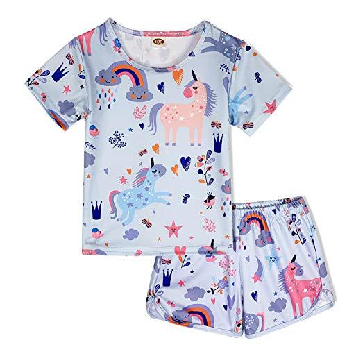 ModaIOO Chicas Unicornio 2 Piezas Conjunto Pijamas Manga Corta(8017,Uni4,120)