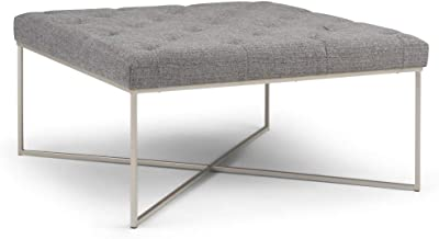 32bee0d44971 Simpli Home AXCOT-295-GRT Portman 38 inch Contemporary Modern Square  Ottoman Bench in