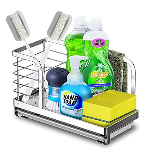 Organizador Fregadero, Organizador de Cocina Sink Soporte de Esponja con toallero Soporte y Organizadores para Utensilios, con Bandeja extraíble, 22,5 x 14 x 11 cm (02)