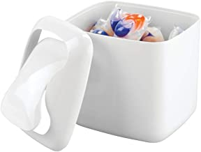 mDesign Small Mini Plastic Modern Laundry Storage Organizer Bin with Swing Lid for Utility Room Countertop, Tabletop - Store Laundry Detergent, Laundry Pods, Fabric Softener, Clothes Pins - White