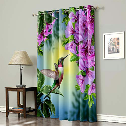 Wide Blackout Curtain for Sliding Glass Door Living Room Bedroom Thermal Insulated Blackout Patio Door Curtain Panel, 52x84 Inch Hummingbirds and Brilliant Flowers
